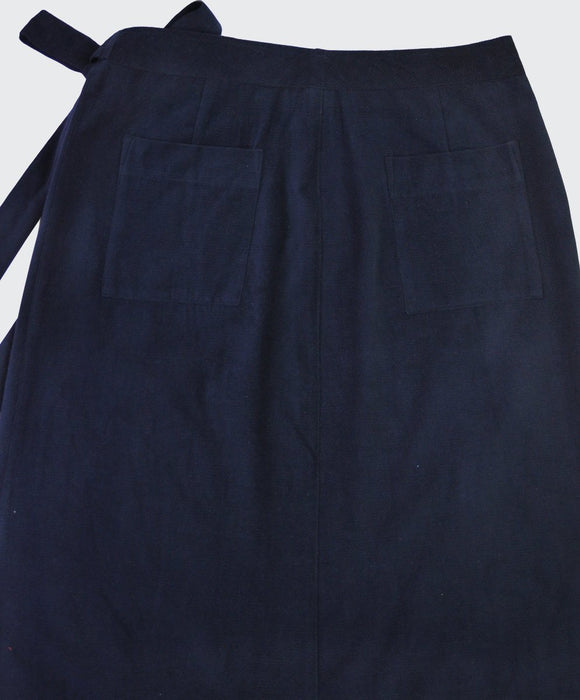 Navy Cord Wrap Skirt