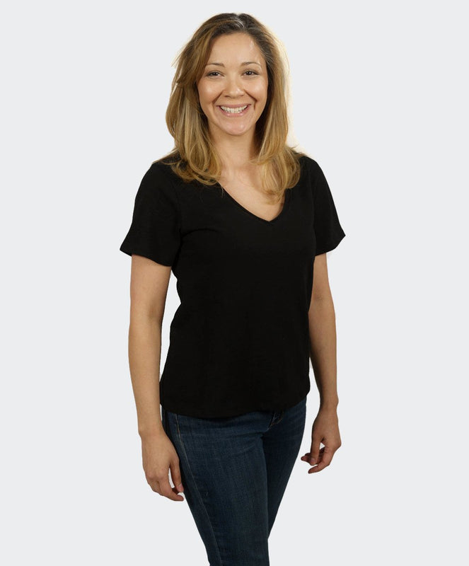 Loose Black V Neck Tee