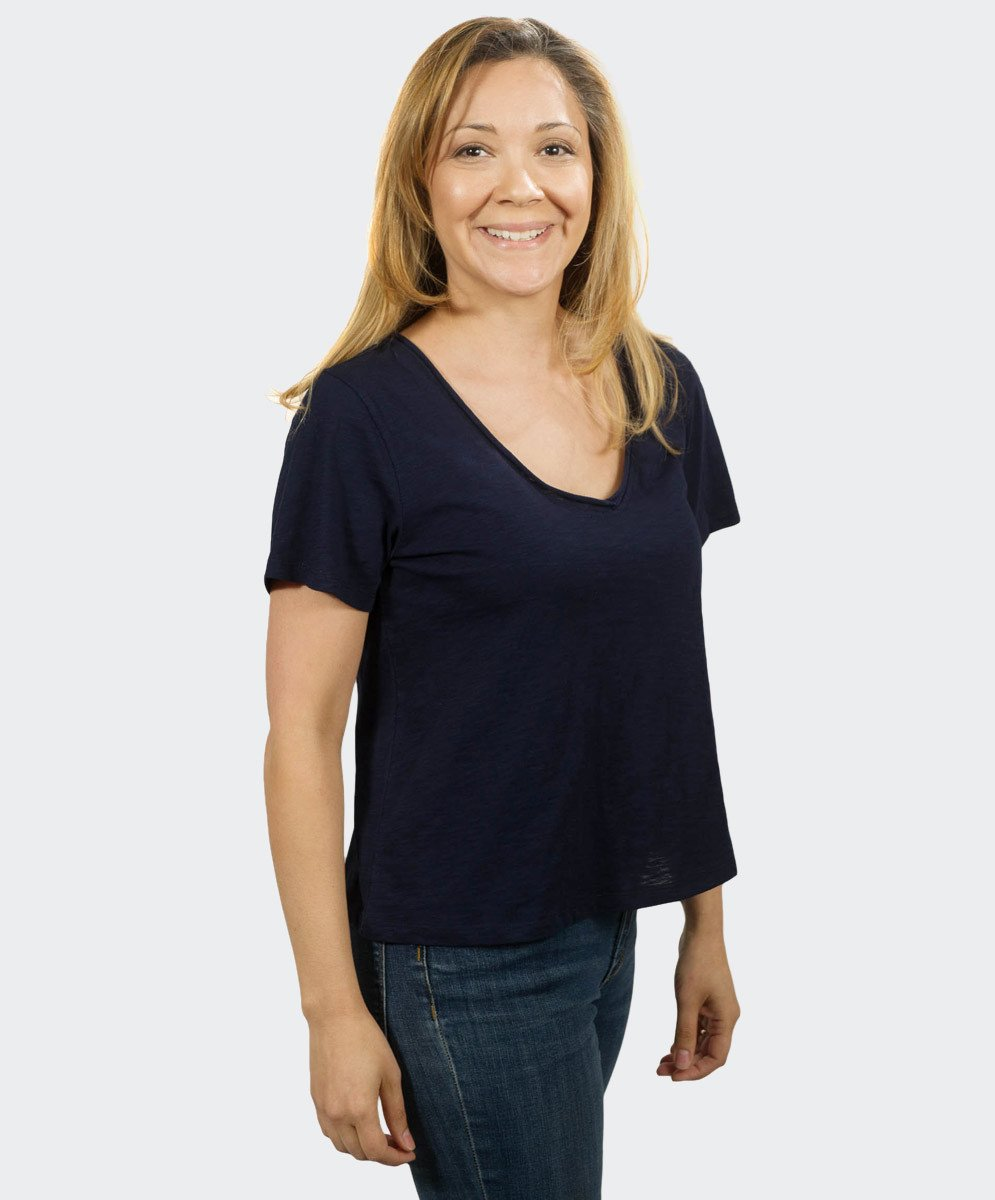 Loose Navy V Neck Tee