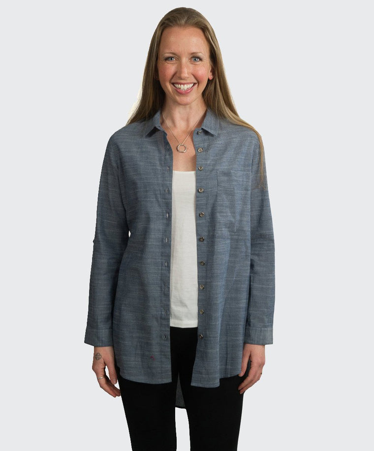Shweta Chambray Long Line Shirt