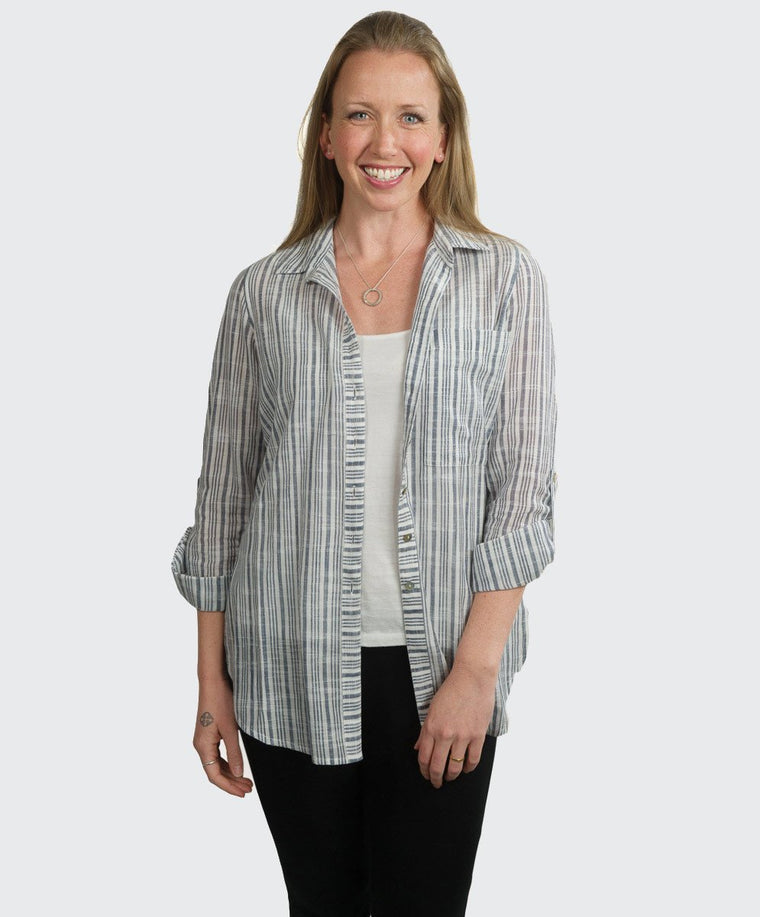 Shweta Stripe Long Line Shirt
