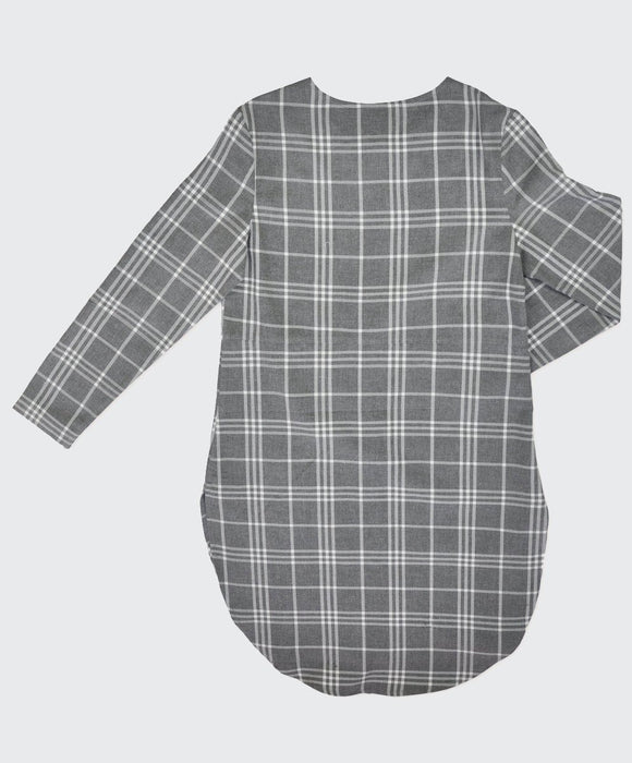 Melange Check Long Line Tunic