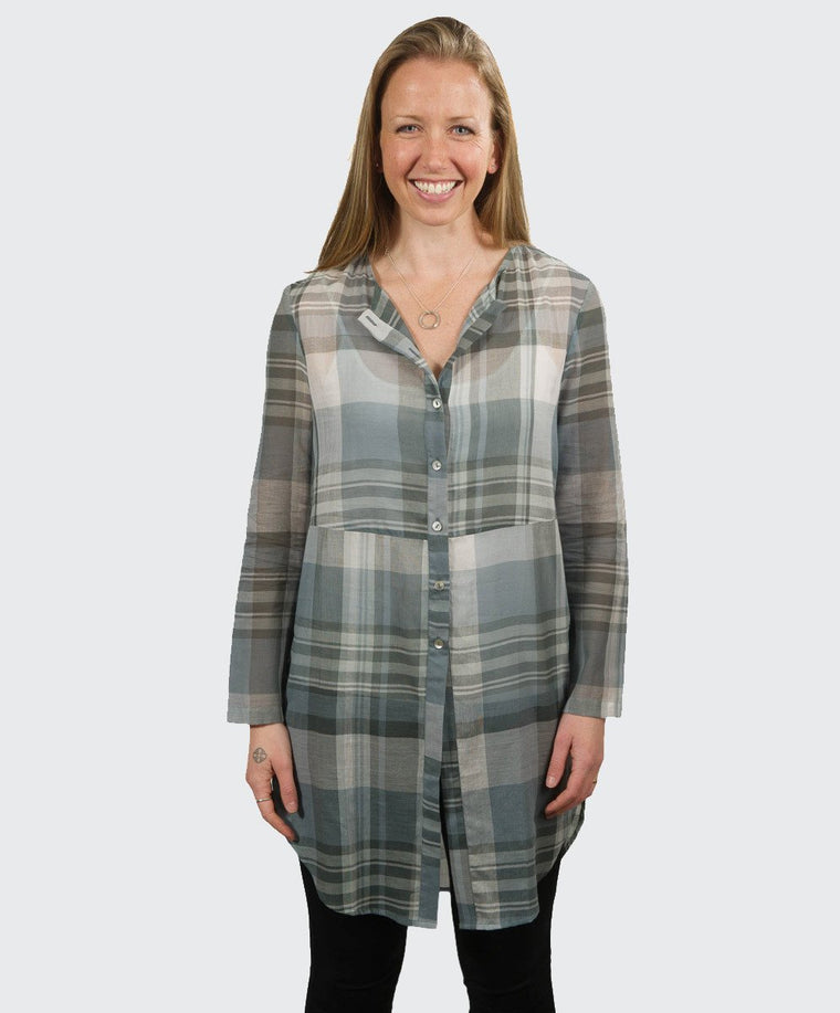 Muted Blues Long Line Tunic