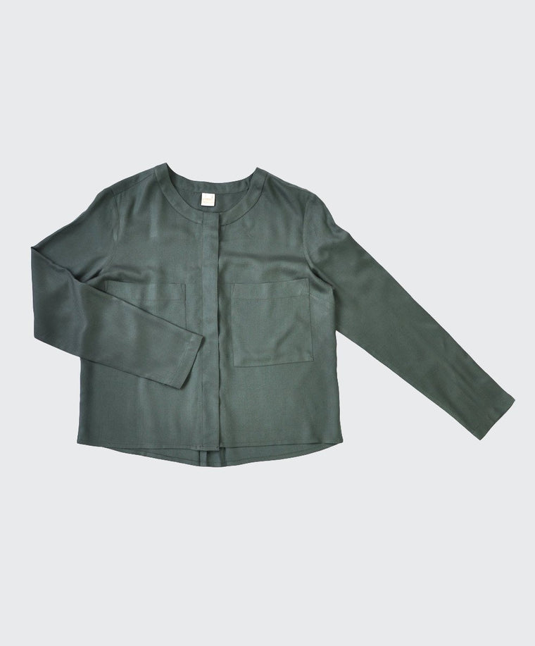 Olive Green Boxy Blouse