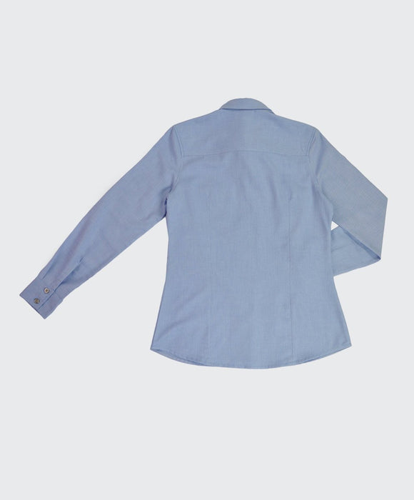 Blue Twill  Fitted Blouse