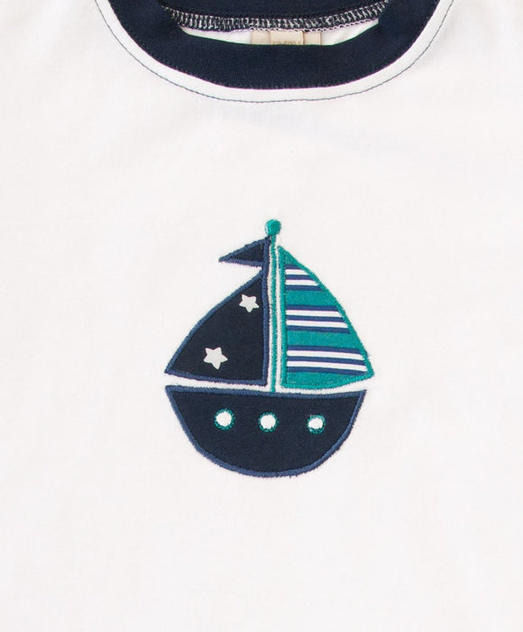 Fun White Boat T-Shirt - Visible.Clothing