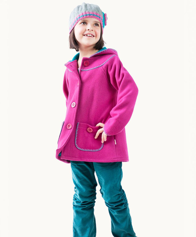 Hot Pink Blanket Stitch Wool Coat - Visible.Clothing