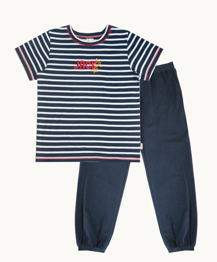 Personalized T-Shirt Set With Navy/White Stripe & Long Pajama Joggers