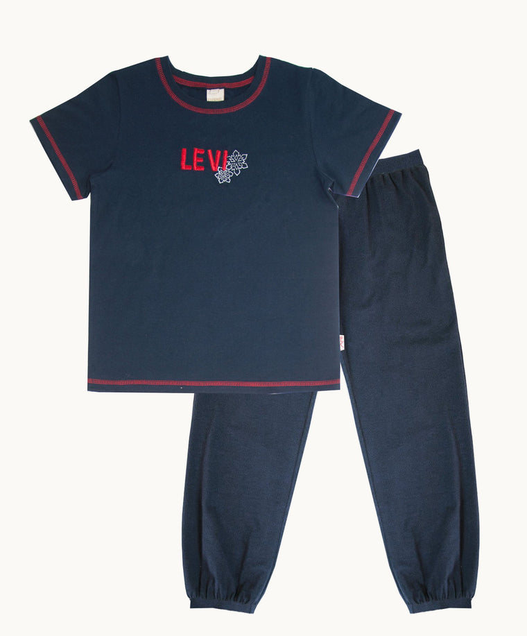 Personalized T-Shirt Set With Navy Long Pajama Joggers