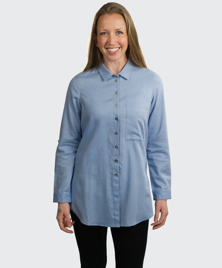 Tsela Oxford Dip Back Blouse
