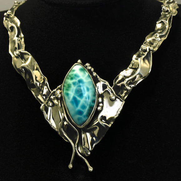 Larimar in Sterling Silver Necklace