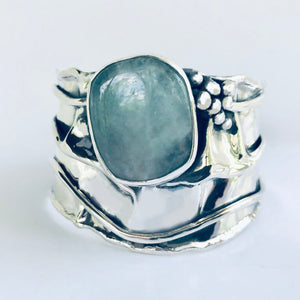 Aquamarine in Sterling Silver Cuff Bracelet
