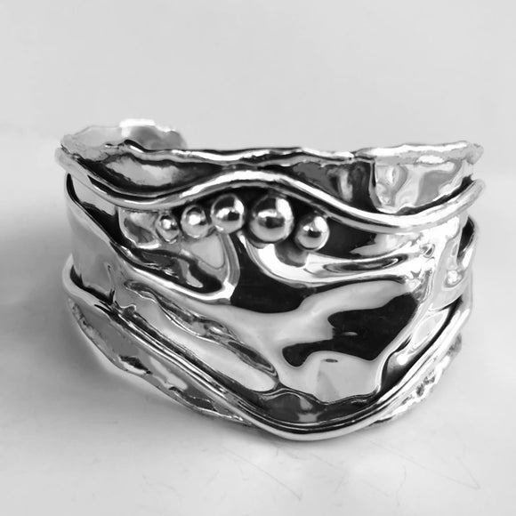 Berries and Vines Sterling Silver Cuff Bracelet