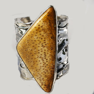 Fossil Palm in Sterling Silver Cuff Bracelet