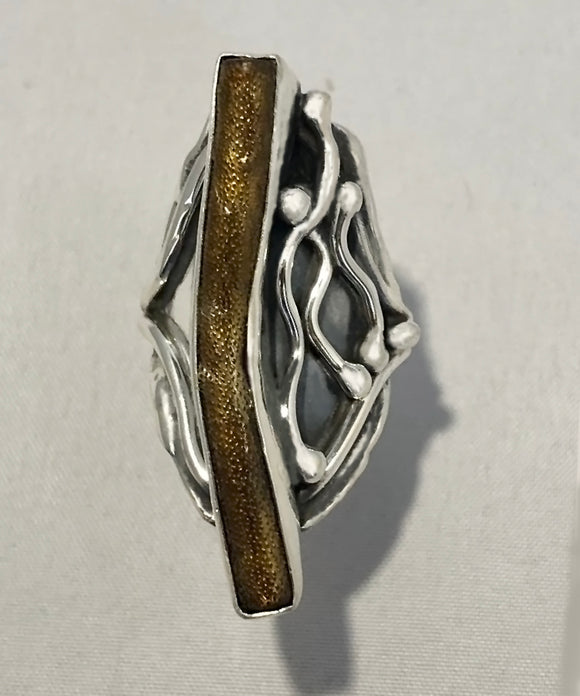 Natural Golden Coral set in Sterling Silver Ring