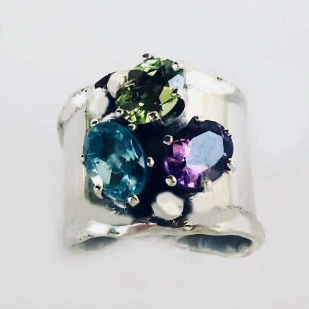 Multigemstones in Sterling Silver Ring