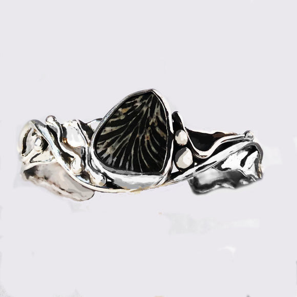 Fossilized Black Coral in Sterling Silver Cuff Bracelet