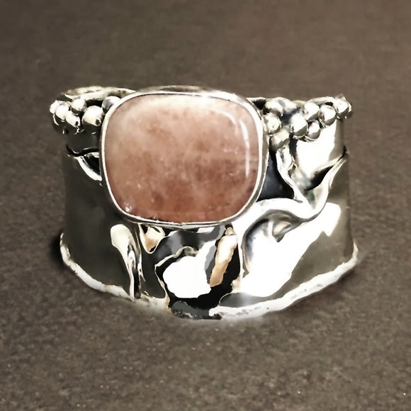 Morganite in Sterling Silver Cuff Bracelet