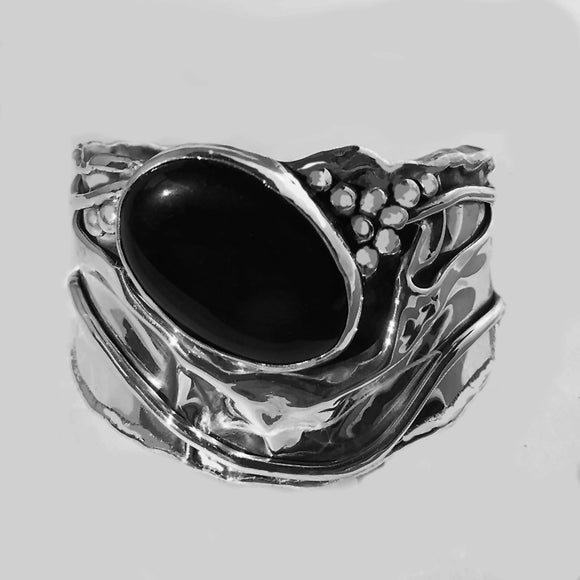 Black Onyx in Sterling Silver Cuff Bracelet