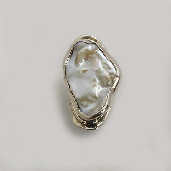 Fancy Freshwater Pearl in Sterling Silver Ring