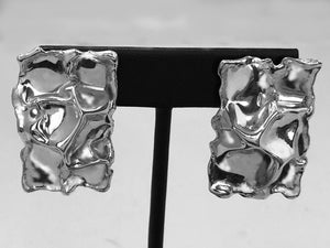 Rectangular Crinkle Sterling Silver Earrings