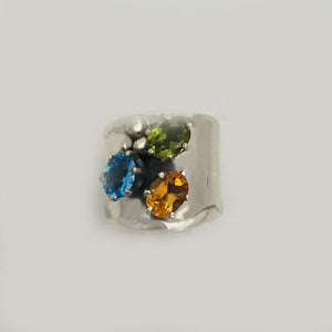 Multi Gemstones in Sterling Silver Ring