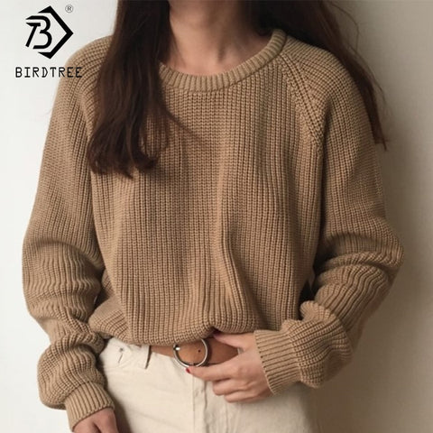 Full Sleeve Women Knitting Sweater Solid O-Neck