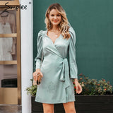 Wrap Around Long Sleeve Dress