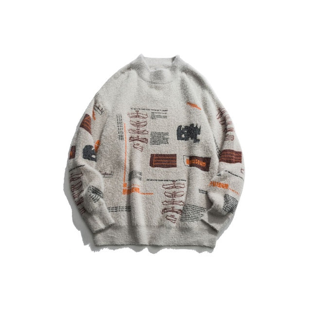 Graffiti Knitted Pullover Jumper Sweater