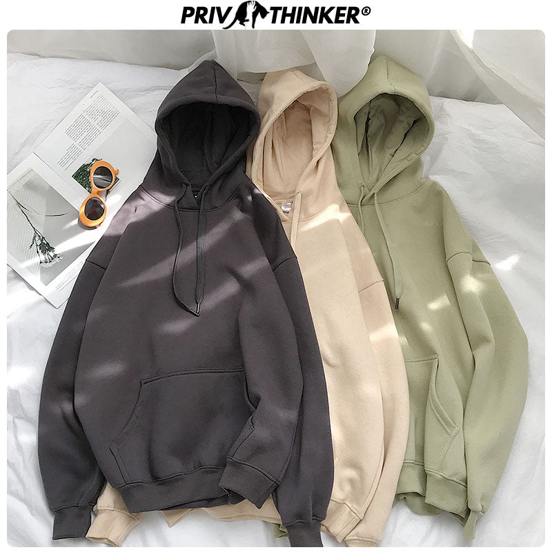 Privathinker Woman's Solid 13 Colors Korean Hoodies