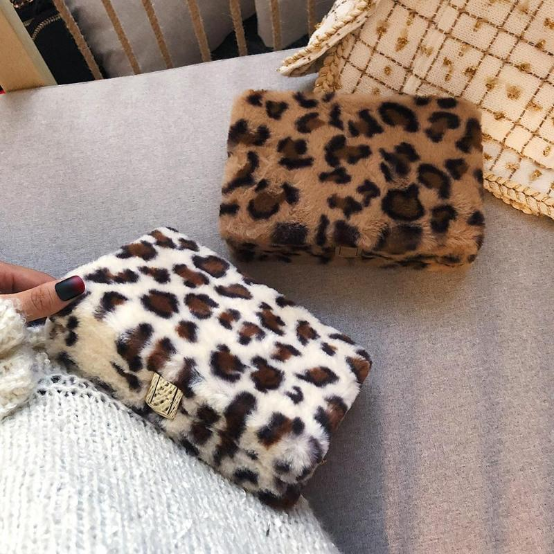 Leopard Plush Shoulder Bag
