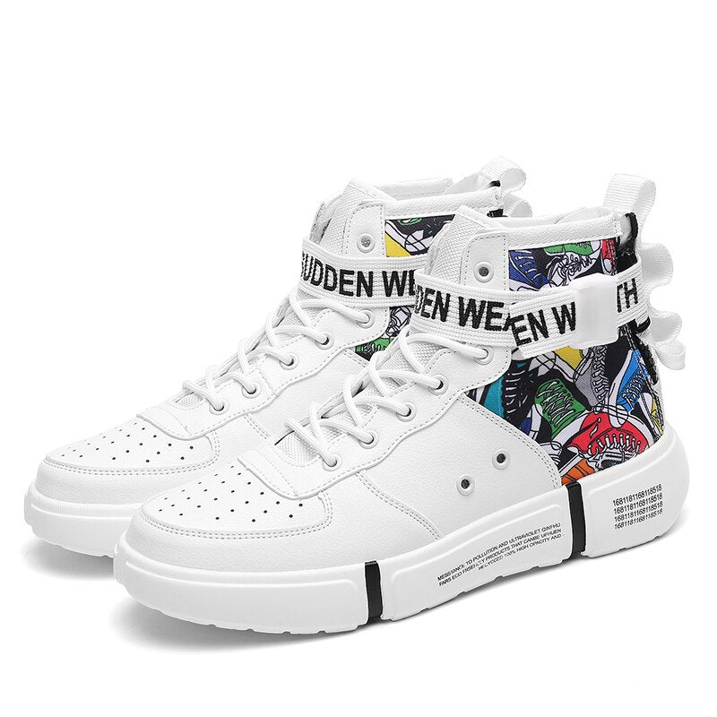 Spring Leather High Top Hip Hop Sneaker