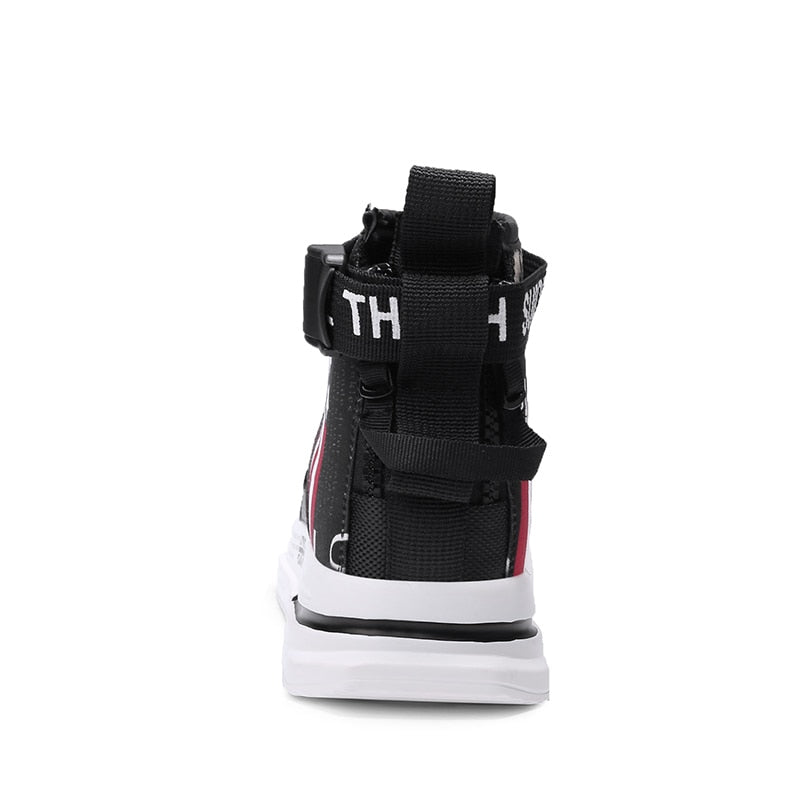 White US street Leather print High Top Sneaker