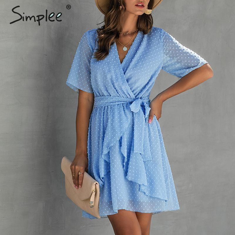 Ruffle V-neck Summer Dress