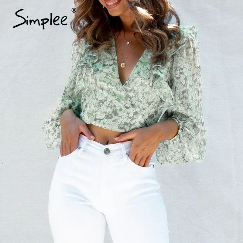 Ruffled Bow Tie Female Blouse