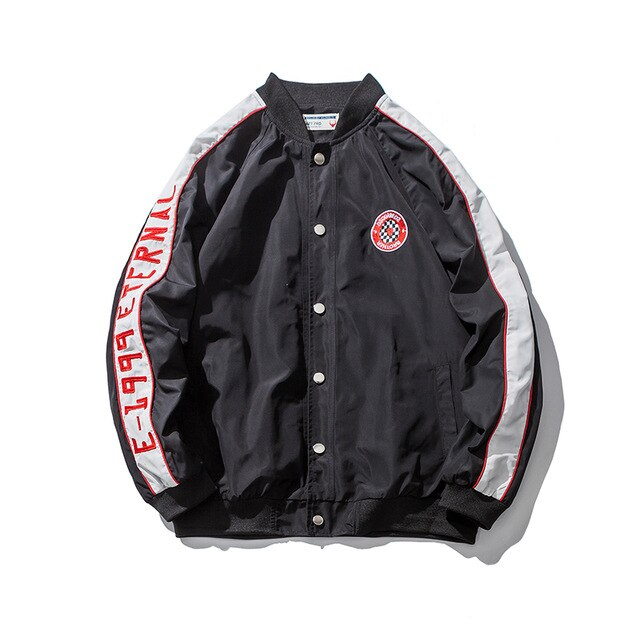 Side Striped Baseball Bomber Jacket