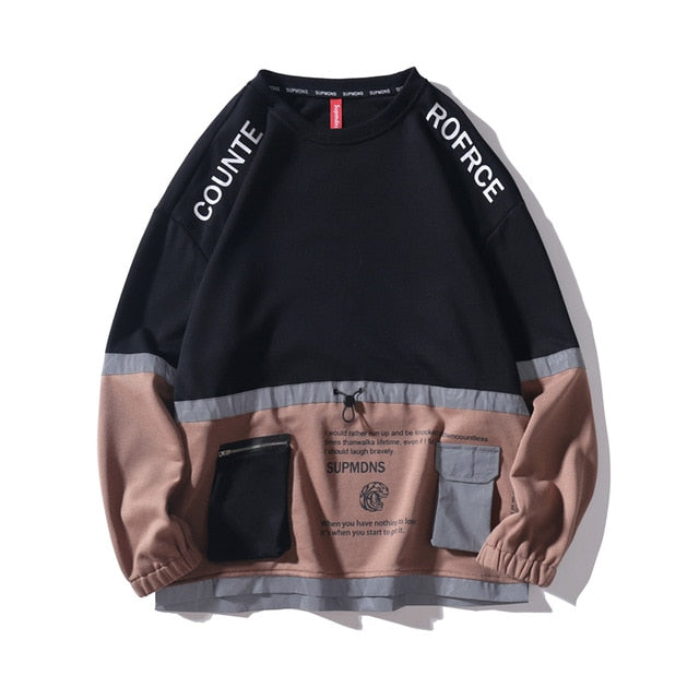 COUNTE ROFRCE Patchwork Pockets Sweatshirt