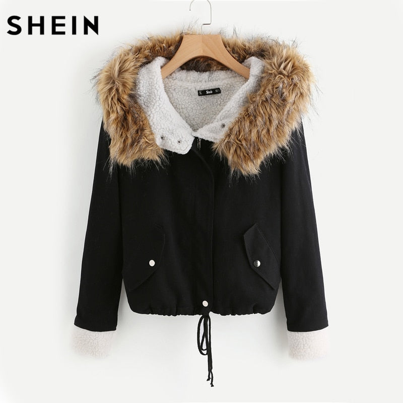 SHEIN Fleece Lined Jacket With Faux Fur Trim Hood