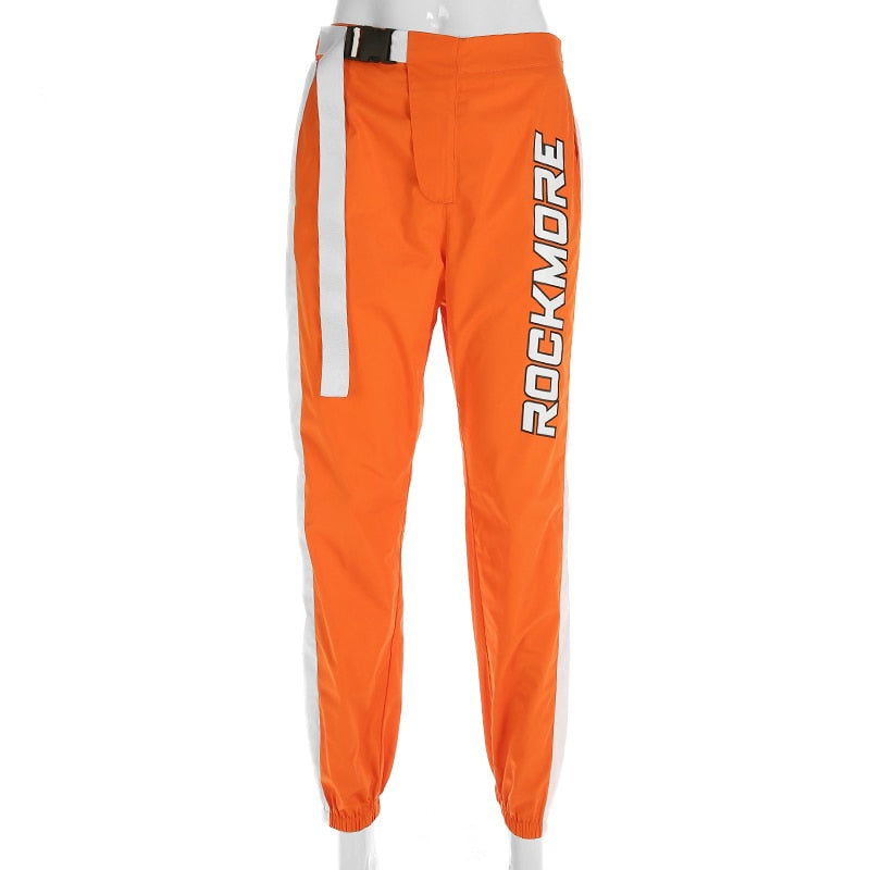 Orange Side Patchwork High Waist Pant