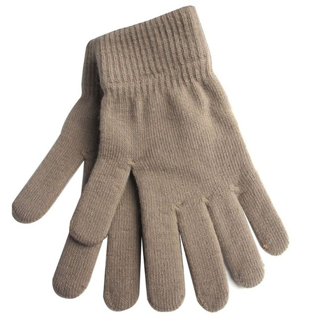 Unisex Winter Ribbed Knitted Full Fingered Gloves