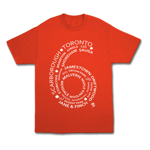 6 Side T shirt Red streetwear - Famous Club Clothing - Famous Club Clothing