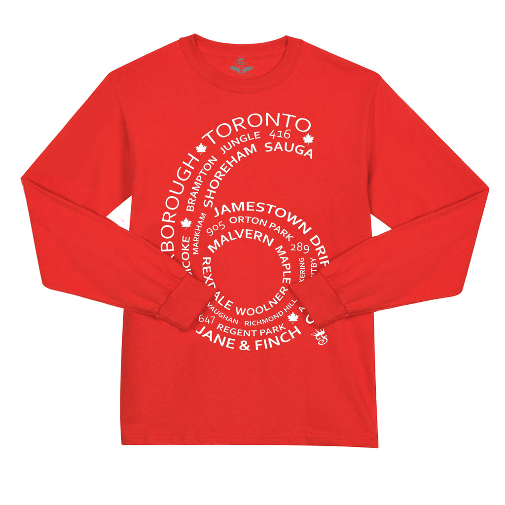 6 Side L/S Tee Red