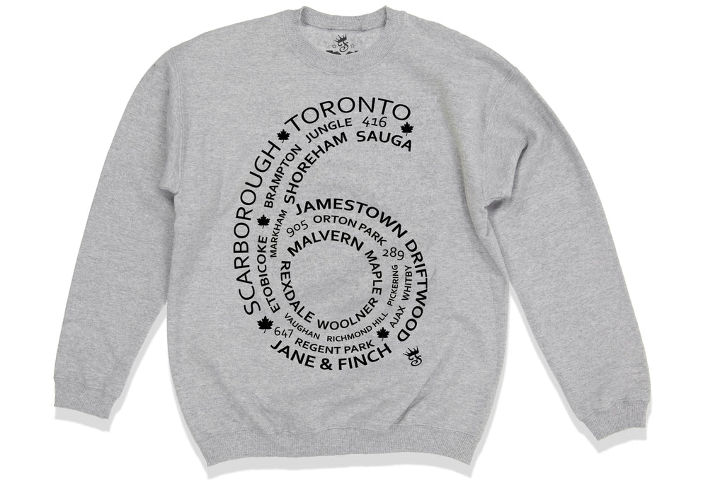 TORONTO 6 SIDE CREWNECK - HEATHER GREY