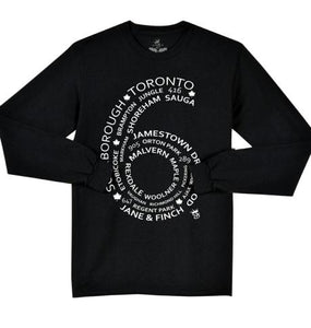 Toronto Multi City  Streetwear Design 6 Side L/S Tee Black - Famous Club Clothing