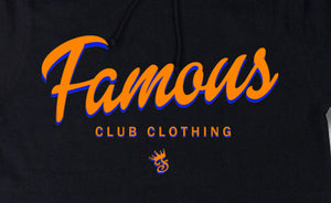 NYC FAMOUS Script Black Hoodie - Famous Club Clothing