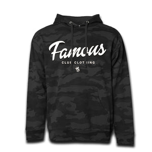 FAMOUS Script Black Camo Hoodie - Famous Club Clothing