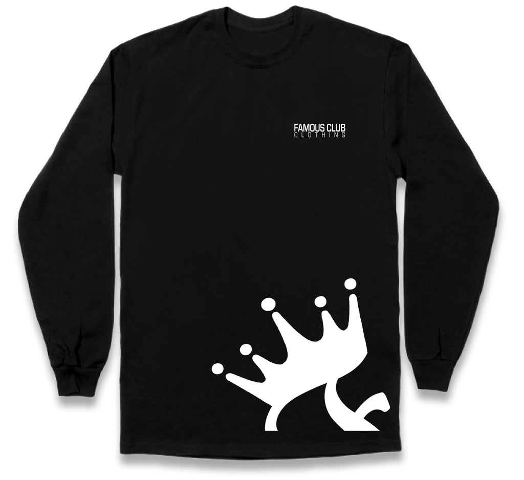 Crown Long Sleeves Black Shirt  - Streetwear - Famous Club Clothing