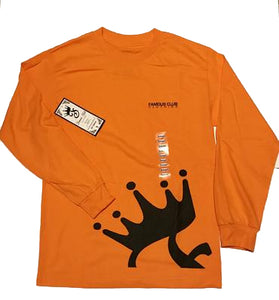 Crown L/S  Orange Streetwear Shirt - Famous Club Clothing