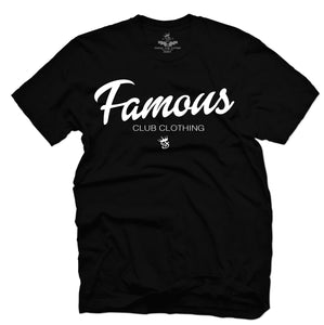 FAMOUS Script Tee Black - Famous Club Clothing