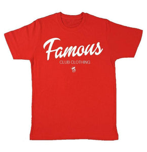 FAMOUS Script Tee Red - Famous Club Clothing